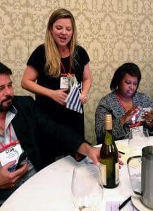 Amanda Barnes presenting the Garzon Albarino from Uruguay