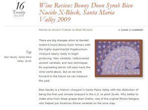 https://foodandwineaesthetics.com/2018/10/16/wine-review-bonny-doon-syrah-bien-nacido-x-block-santa-maria-valley-2009/