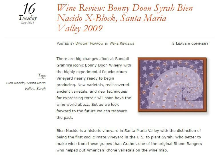 https://foodandwineaesthetics.com/2018/10/16/wine-review-bonny-doon-syrah-bien-nacido-x-block-santa-maria-valley-2009/