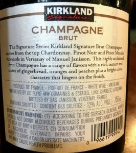label of kirkland champagne