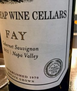 close up of fay label