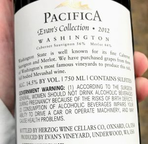 Back label with marketing blurb