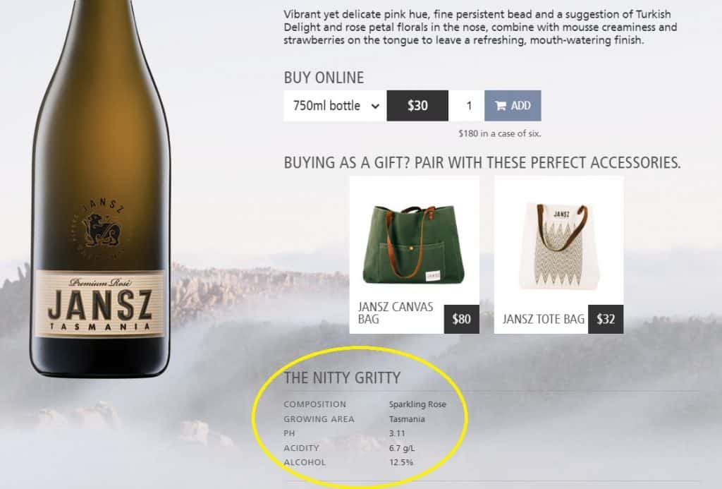 Jansz product page for rose sparkling wine