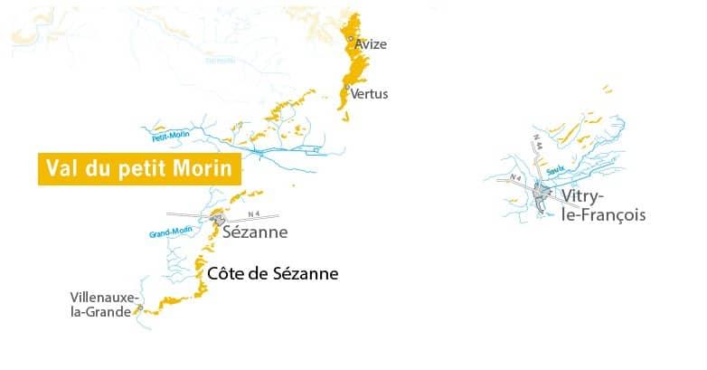 Côte des Blancs map