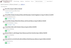 Zinfandel search on VWE