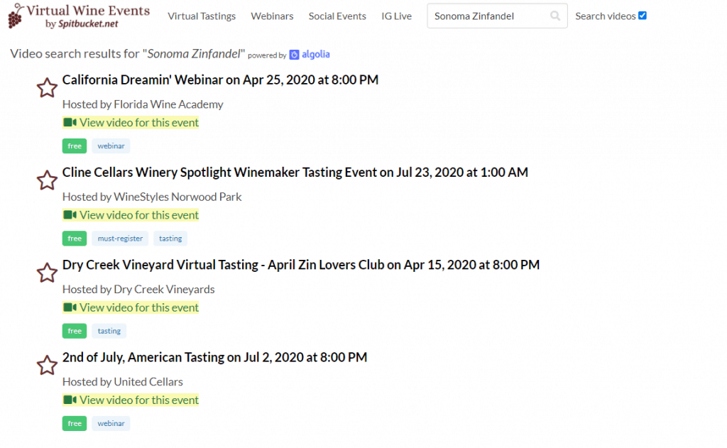 Sonoma Zin VWE search results