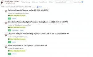 Sonoma Zin VWE search results